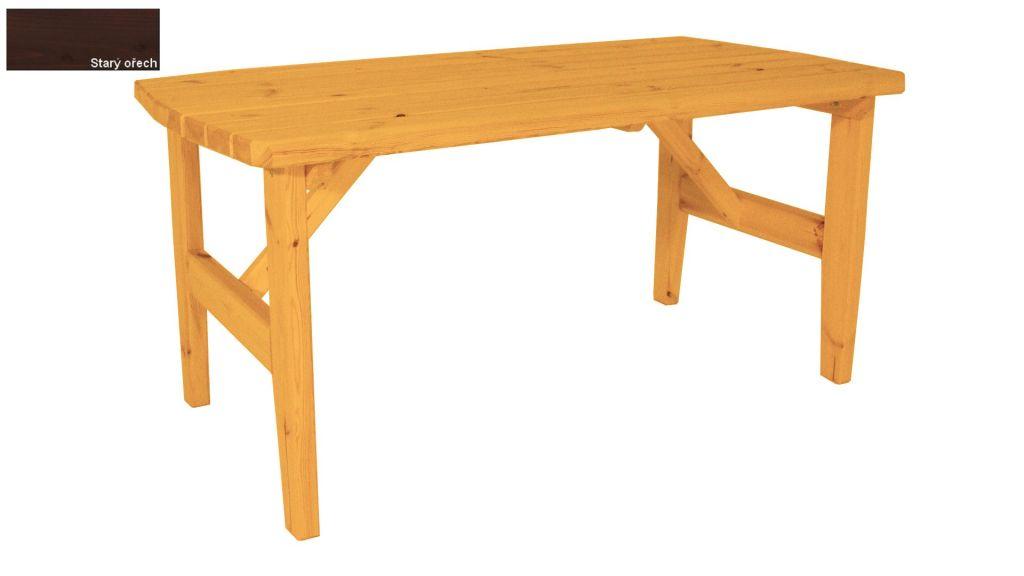 Zahradní dřevěný stůl Eduard – s povrchovou úpravou – 160 cm – STARÝ OŘECH