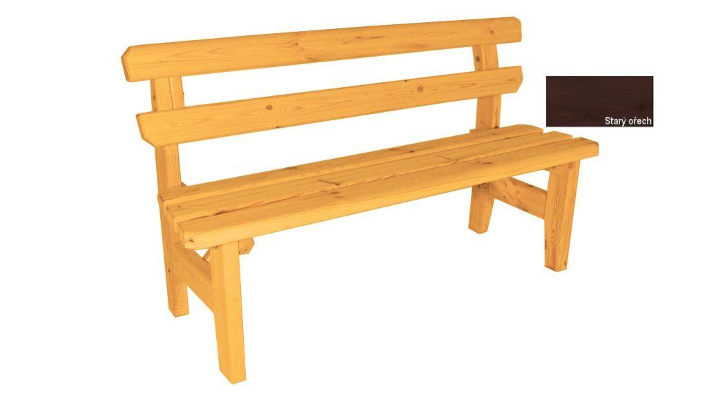 Zahradní dřevěná lavice Eduard - s povrchovou úpravou - 150 cm - STARÝ OŘECH