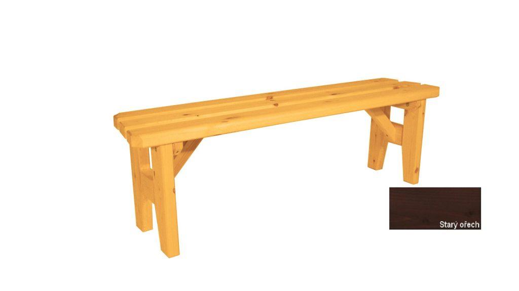 Zahradní dřevěná lavice bez opěradla I. - s povrchovou úpravou - 150 cm Gaboni TP55485