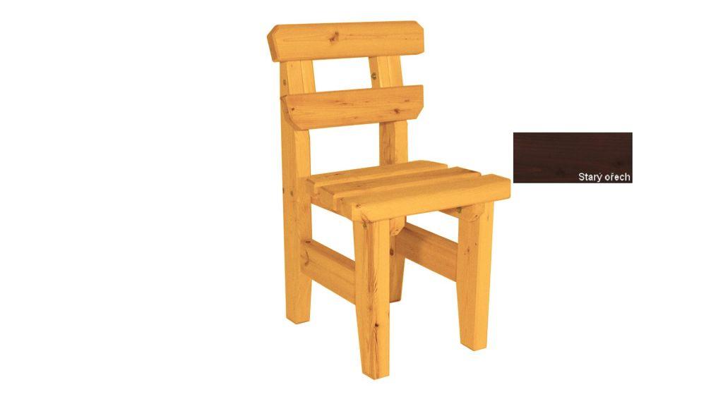 Zahradní dřevěná židle Eduard - s povrchovou úpravou - STARÝ OŘECH
