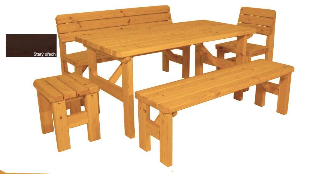 Zahradní dřevěný set Darina - s povrchovou úpravou - STARÝ OŘECH