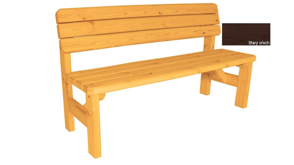 Zahradní dřevěná lavice s opěradlem Darina - s povrchovou úpravou - 150 cm - STARÝ OŘECH