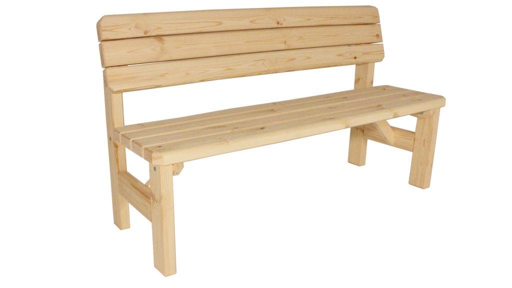 Zahradní dřevěná lavice s opěradlem Darina - bez povrchové úpravy - 150 cm