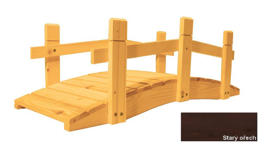 Zahradní dřevěný můstek - 71 cm - STARÝ OŘECH