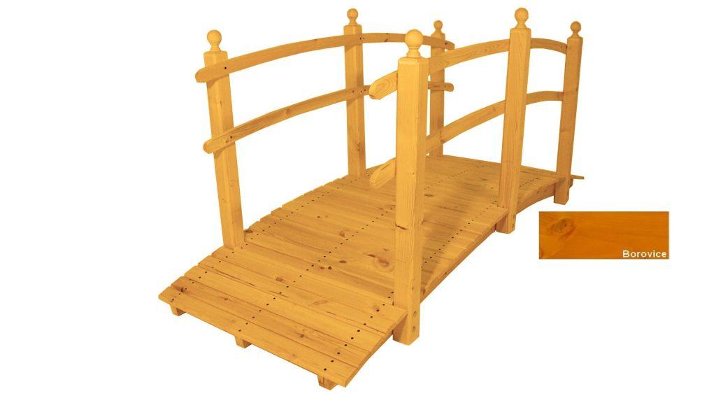 Zahradní dřevěný most s povrchovou úpravou – 248 cm – BOROVICE