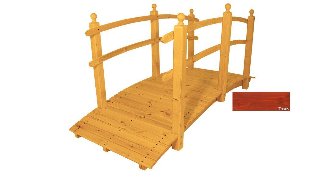 Zahradní dřevěný most s povrchovou úpravou – 248 cm – TEAK