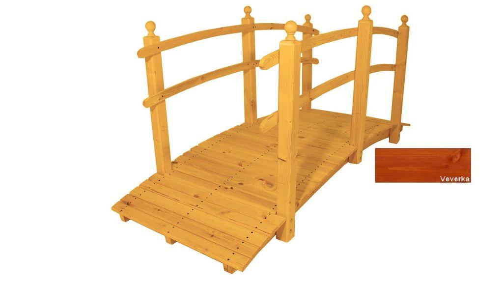 Zahradní dřevěný most s povrchovou úpravou – 248 cm – VEVERKA