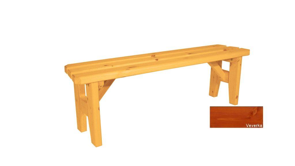 Zahradní dřevěná lavice bez opěradla Eduard – s povrchovou úpravou – 150 cm – VEVERKA