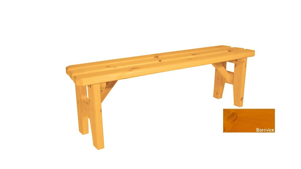 Gaboni Eduard 63151 Zahradní dřevěná lavice bez opěradla - s povrchovou úpravou - 150 cm - BOR