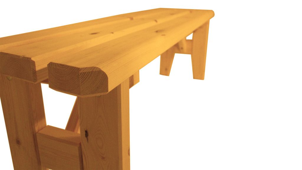 Zahradní dřevěná lavice bez opěradla Eduard – s povrchovou úpravou – 150 cm – BOROVICE