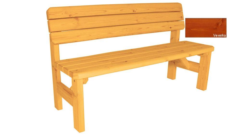 Gaboni Darina 63165 Zahradní dřevěná lavice s opěradlem - s povrchovou úpravou - 150 cm - VEVE