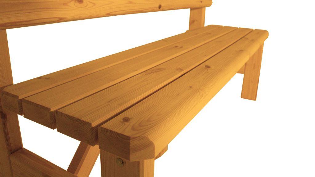Zahradní dřevěná lavice s opěradlem Darina – s povrchovou úpravou – 150 cm – BOROVICE