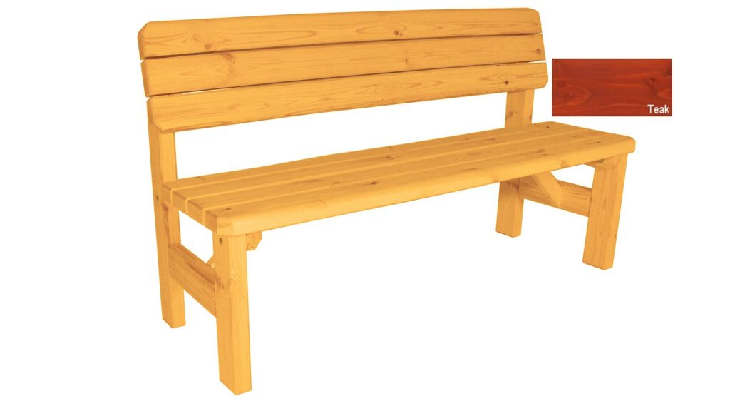 Gaboni Darina 63167 Zahradní dřevěná lavice s opěradlem - s povrchovou úpravou - 150 cm - TEAK