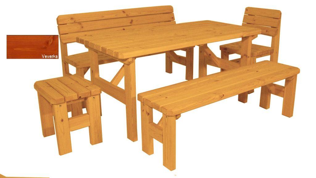 Zahradní dřevěný set Darina - s povrchovou úpravou - VEVERKA
