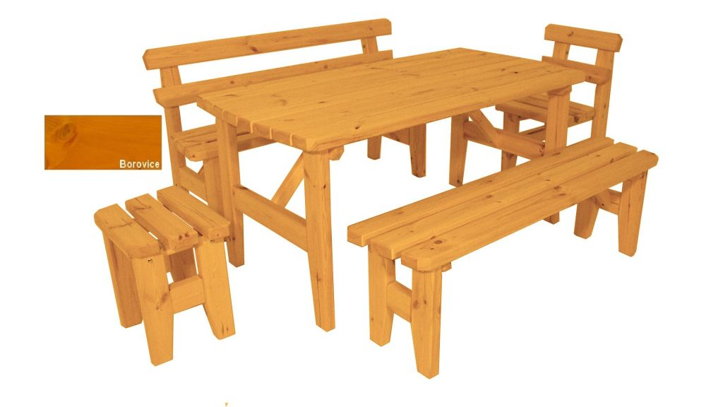 Gaboni Eduard 63321 Zahradní dřevěný set z masivu - s povrchovou úpravou - 160 cm - BOROVICE