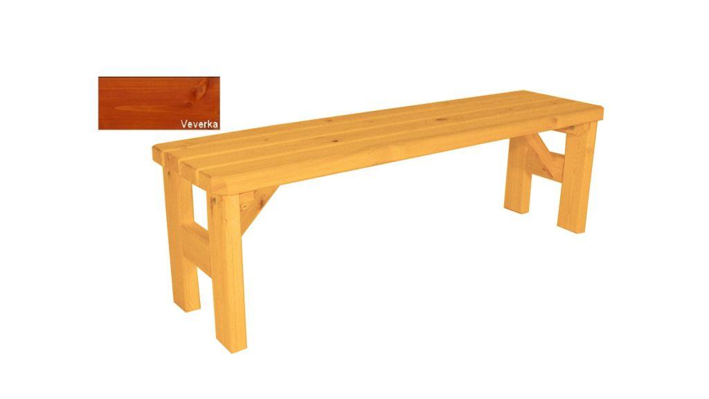 Zahradní dřevěná lavice bez opěradla Darina – s povrchovou úpravou – 150 cm – VEVERKA