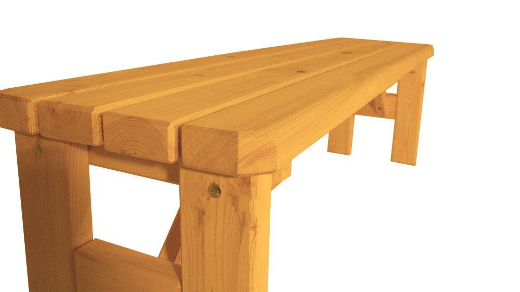 Zahradní dřevěná lavice bez opěradla Darina – s povrchovou úpravou – 150 cm – BOROVICE