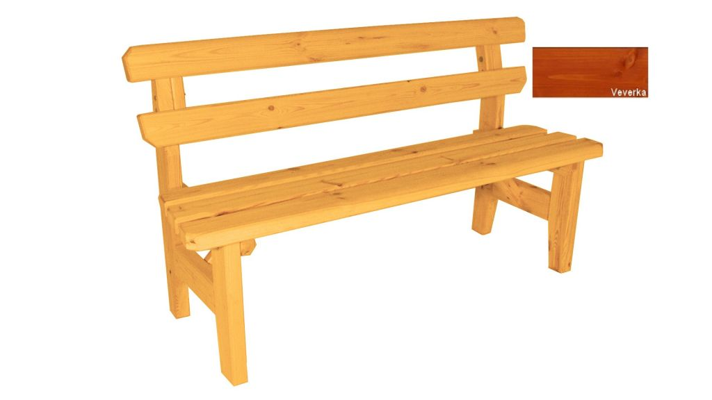Zahradní dřevěná lavice Eduard - s povrchovou úpravou - 150 cm - VEVERKA