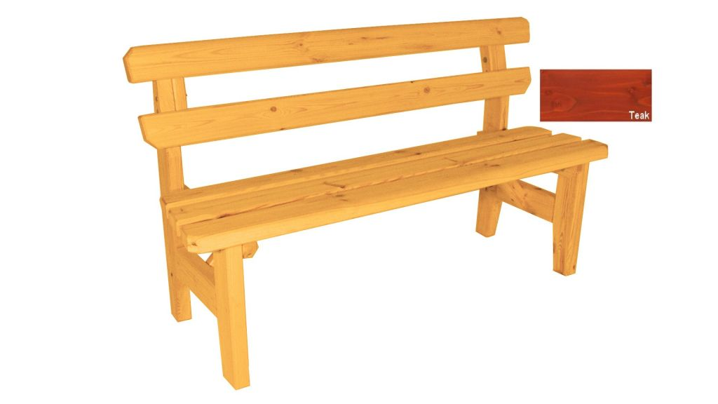 Zahradní dřevěná lavice Eduard - s povrchovou úpravou - 150 cm - TEAK