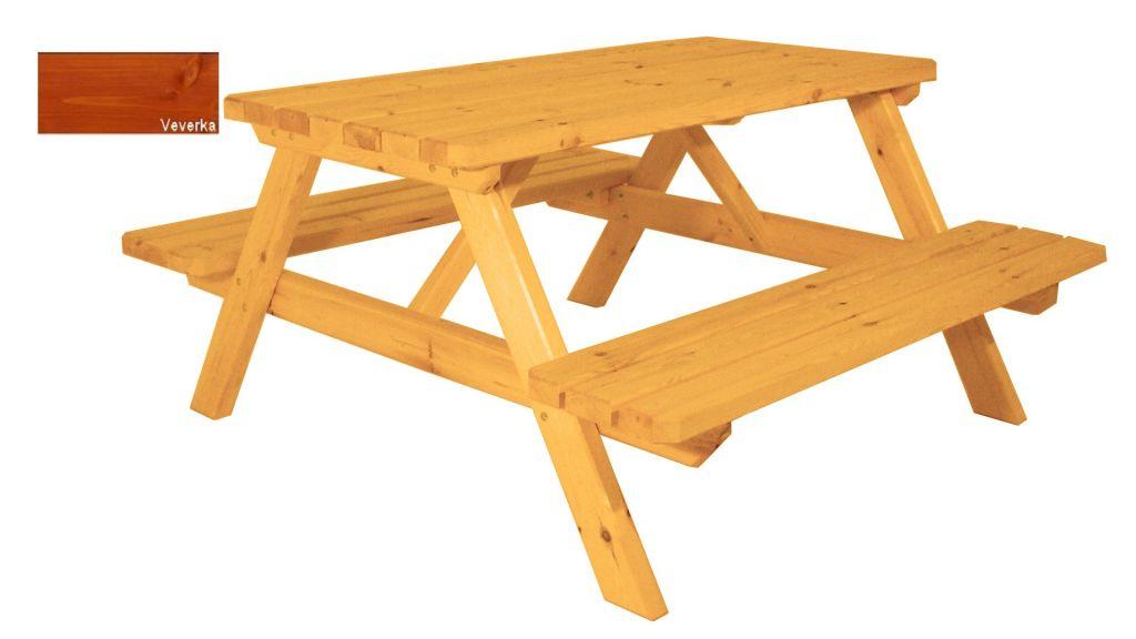 Zahradní set piknik – s povrchovou úpravou – 150 cm – VEVERKA