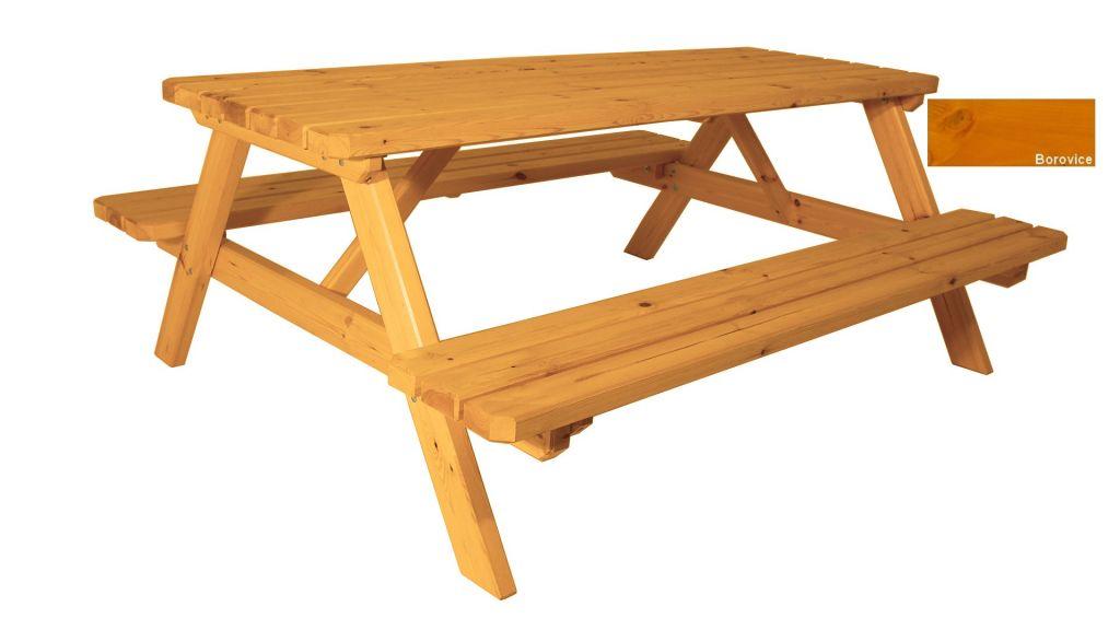 Zahradní set piknik – s povrchovou úpravou – 200 cm – BOROVICE