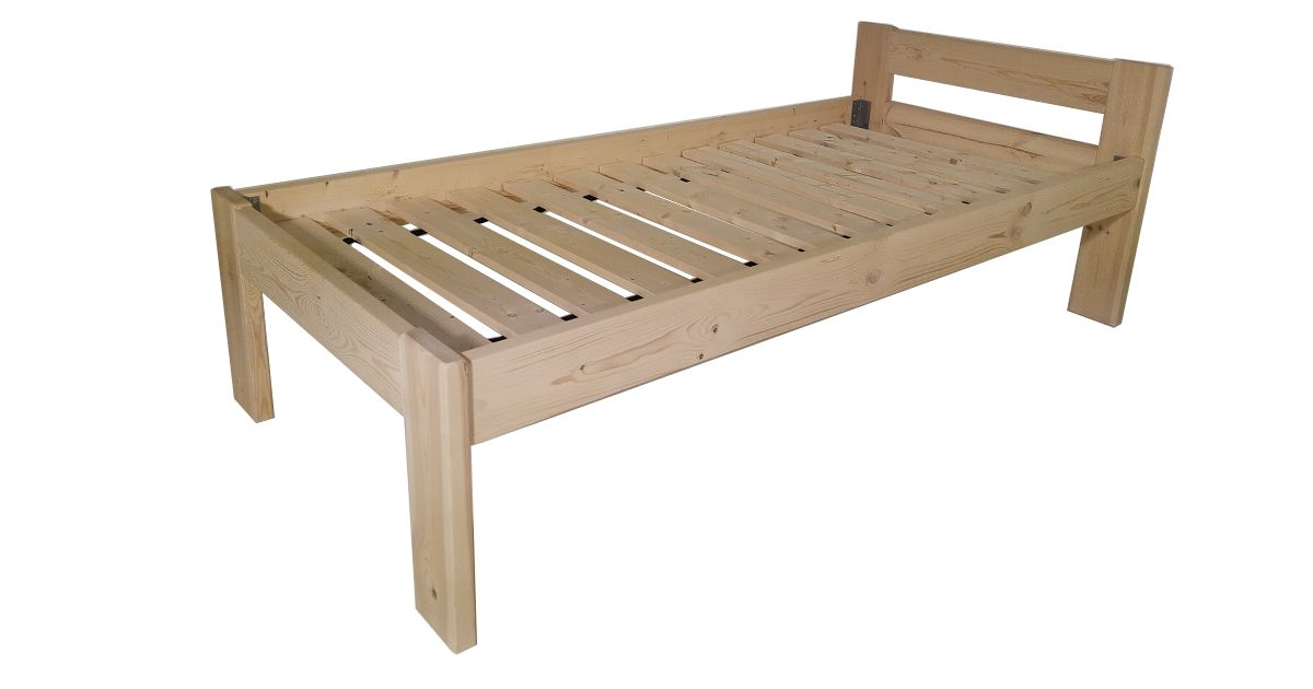 Dřevěná postel  včetně roštů - 90 x 200 cm, přírodní lak