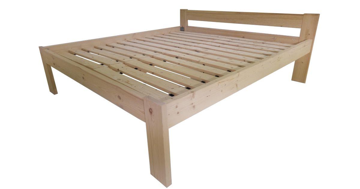 Dřevěná postel včetně roštů -180 x 200 cm, přírodní lak