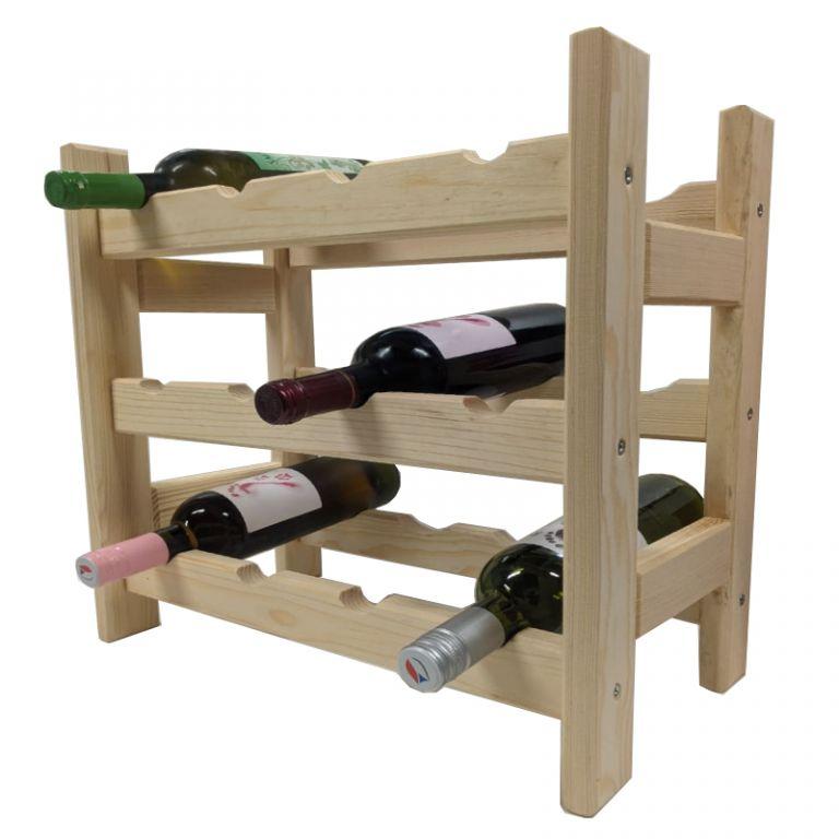 Dřevěný stojan na víno pro 12 lahví