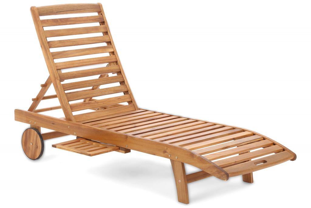 Zahradní lehátko z akátového dřeva Lux - 64 × 200 × 39 cm
