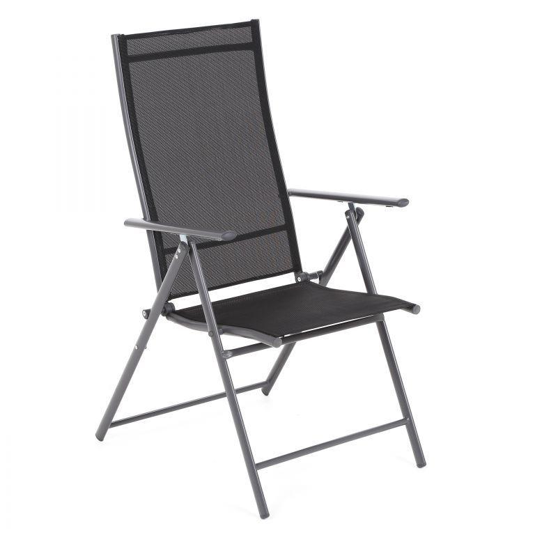 Skládací zahradní kovová židle - černá