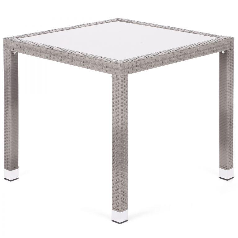 Zahradní polyratanový stůl Mori se skleněnou deskou - šedá