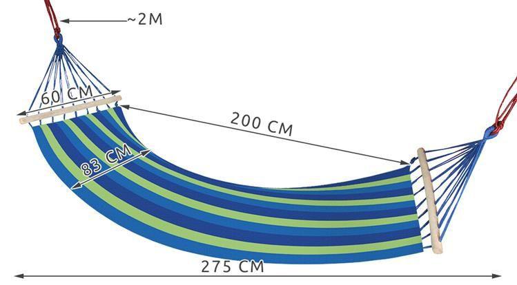 Zahradní houpací síť s výztuhou 83x200 cm modrá