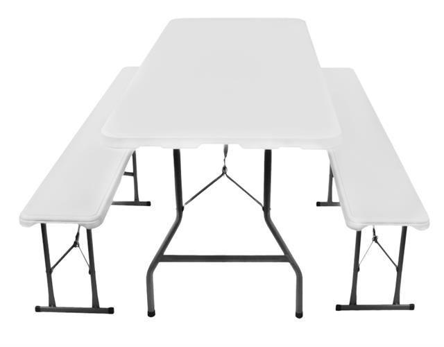 Zahradní skládací stůl - 180 cm + 2 lavice