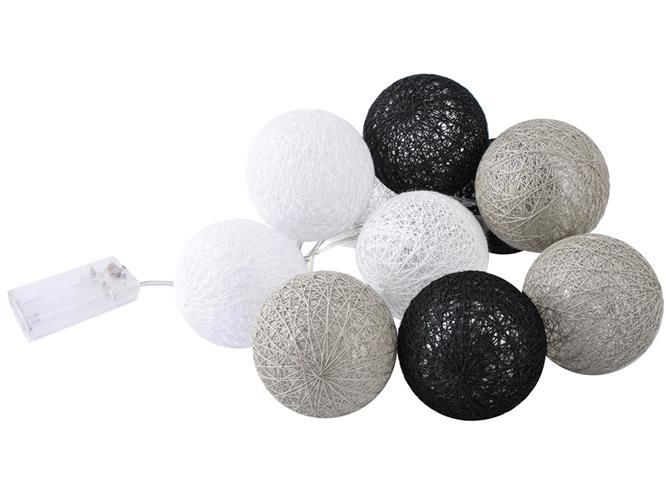LED dekorační světelný řetěz koule - šedé