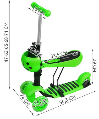 Tříkolová koloběžka s LED svítícími kolečky - zelená