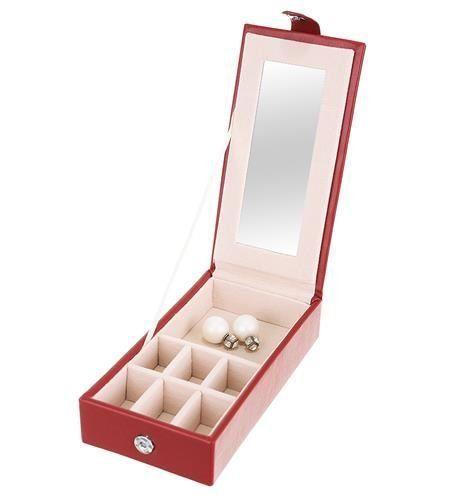 Šperkovnice se zrcátkem Deluxe – červená