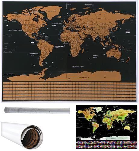 Stírací mapa světa - černá s vlajkami