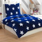 Mikroplyšové ložní prádlo STARS BLUE