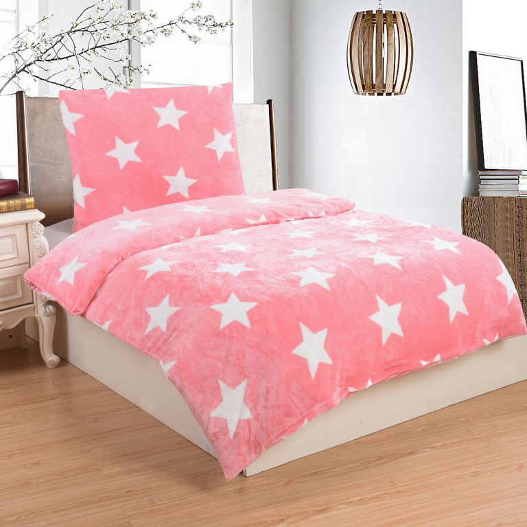 Mikroplyšové ložní prádlo STARS PINK