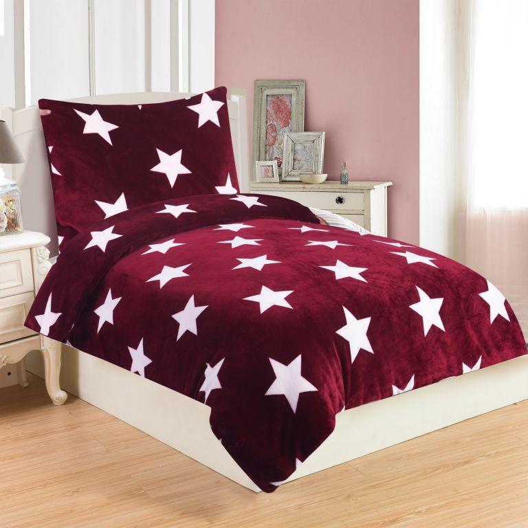Mikroplyšové ložní prádlo STARS BORDO