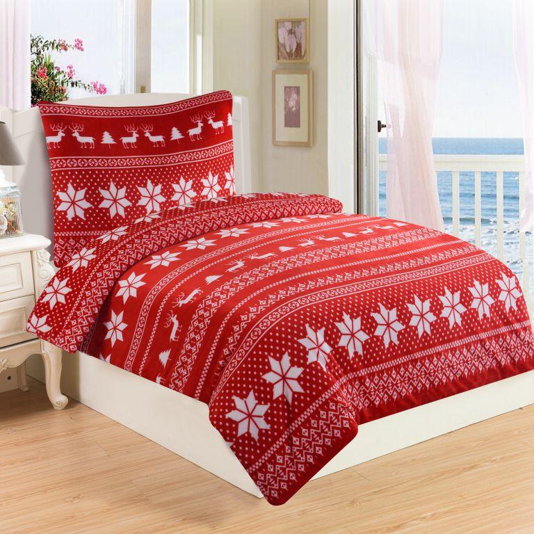 Mikroplyšové ložní prádlo WINTER RED