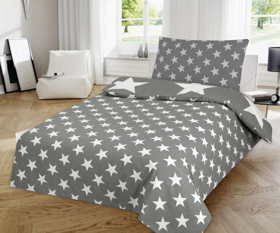 Ložní povlečení Hvězdy - šedá
