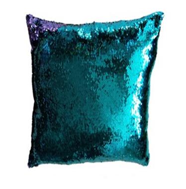 Povlak na polštář s flitry MAGIC 40 x 40 cm - tyrkysová / fialová