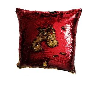 Povlak na polštář s flitry MAGIC 40 x 40 cm - červená / zlatá