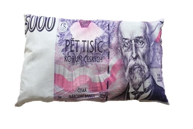Dekorační polštář bankovka – 5000 Kč