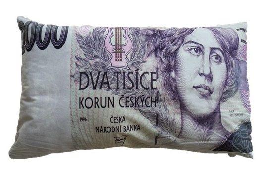 Dekorační polštář bankovka - 2000 Kč