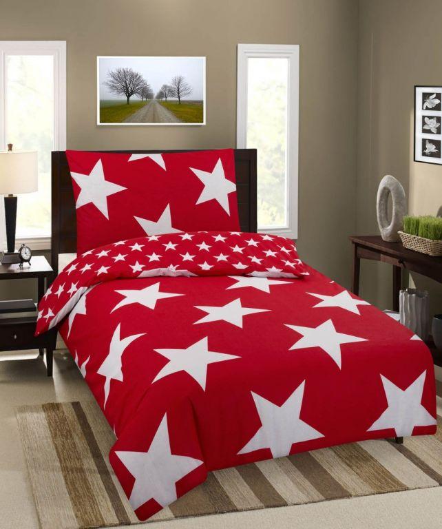 Bavlněné ložní povlečení Premium Stars – červená