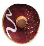 Polštář donut 3D - hnědý s barevnou posypkou a polevou