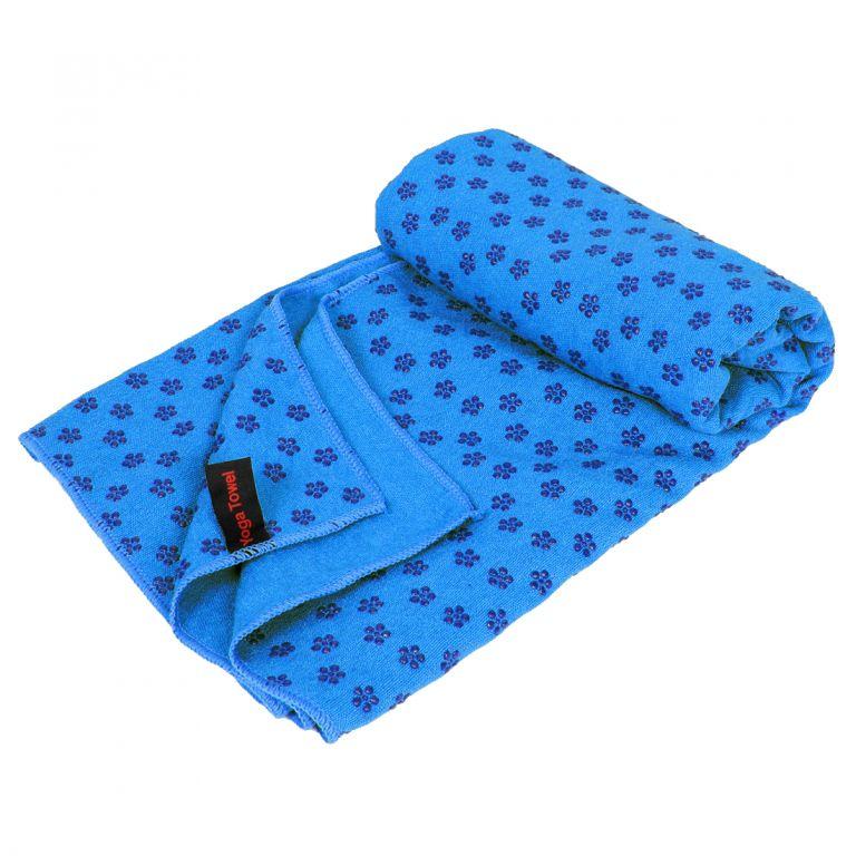 Protiskluzový ručník na jógu – 183 x 61 cm, modrý