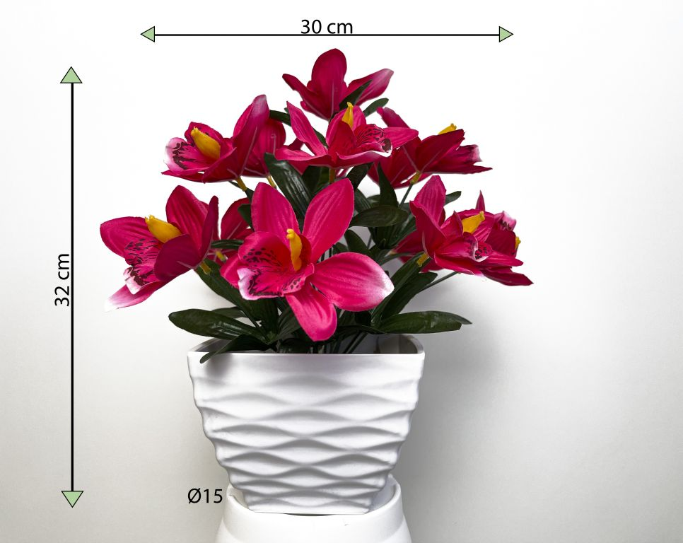 Umělá květina - orchidej v květináči - tmavě růžová, 32 cm